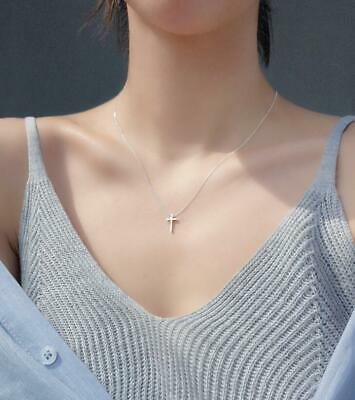 925 Sterling Silver SP Faith Cross Pendant Chain Necklace Faith Pendant Necklace