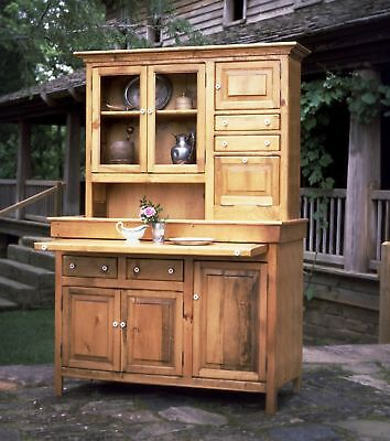 Large Pine Hoosier Cabinet, Antique Reproduction, made in USA, Honey finish