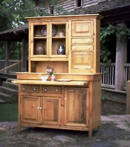 Large Pine Hoosier Cabinet Antique Reproduction Made In Usa Honey Finish