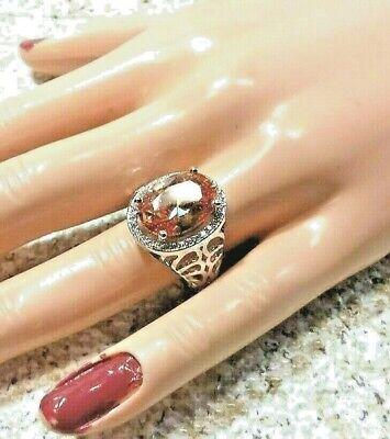 SIMULATED CHAMPAGNE SAPPHIRE, SIMULATED WHITE DIAMOND SILVERTONE RING SIZE 9 Champagne Diamond Simulated Ring