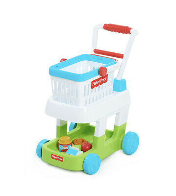 Fisher Price Shopping Cart with 5 food pieces Removable Basket, Shape Sorter