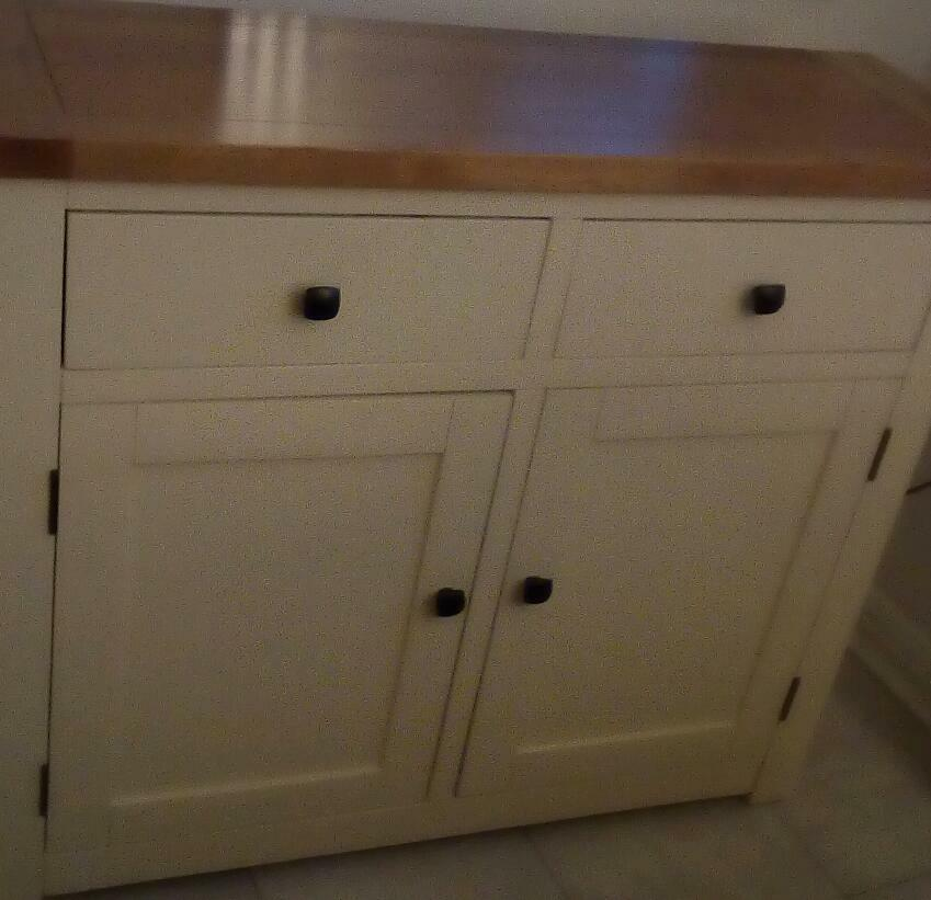 """Cream sideboards and matching furniturein Coatbridge, North LanarkshireGumtree - Beautiful living room furniture,cream ( not painted) with real solid wood tops.Comprises of Two identical sideboards, measuring approx 40.25"""" wide x33.5"""" high x 13.75 deep.£70 each or £120 for both.Large two drawer coffee table with lower shelf..."""