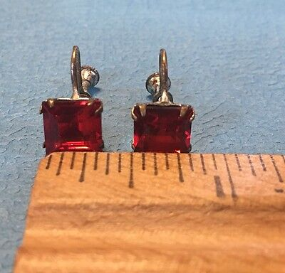 Ruby Red Glass Rhinestone Earrings Silver Filled Art Deco Screwback
