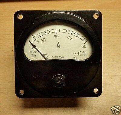 Ac 0-50a Vintage Panel Mount Amperemeter Ammeter Ussr Nos