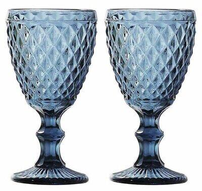 Set of 2 -  SIDARI BLUE Vintage RED WINE GLASSES 350ml