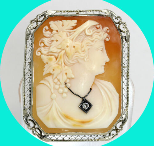 """Antique diamond cameo brooch pin pendant 14K WG carved shell .05CT 1 3/4"""" 11.5GM"""