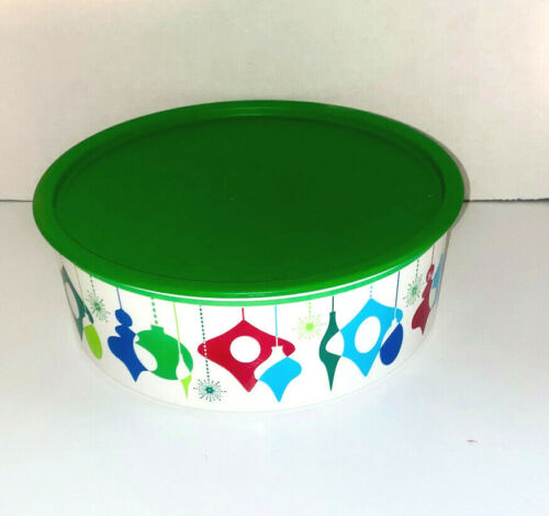 """TUPPERWARE ONE TOUCH """"F"""" SHORT COOKIE CANISTER #3421 Green Gift Ornament Holiday"""
