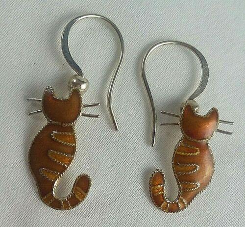 vintage sterling silver enameled orange cats dangle earrings