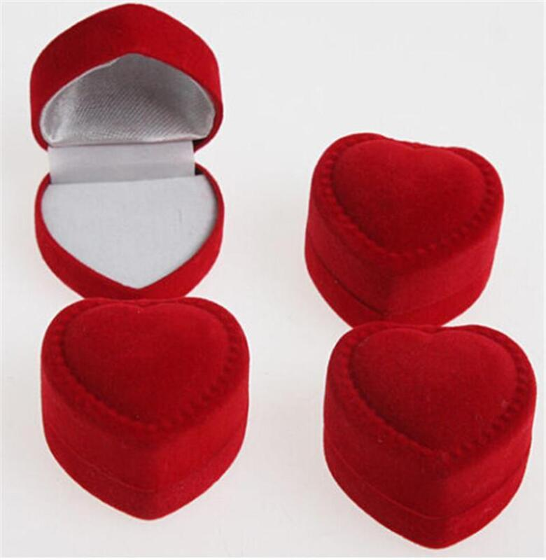 10pc Velvet Red Heart Shaped Ring Box Retail Store Jewelry Display Wedding NITS