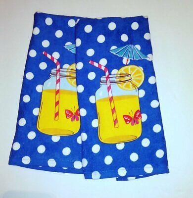 Kay Dee Designs Set  2 Terry Dishtowels Summer Beachy  Blue White Dots