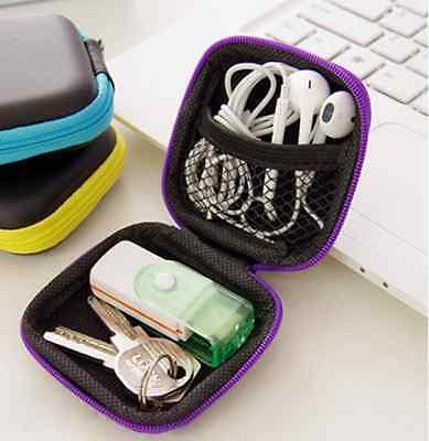 HOT Mini Earphone Headset Box Data Cable Cord Storage Case Container Organizer C