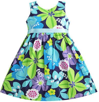 Sunny Fashion Girls Dress Blue Belt Flower Print Party Kids Sundress Size 2 10