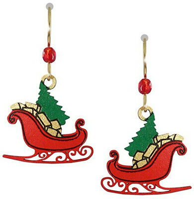Sienna Sky Red CHRISTMAS SLEIGH Earrings with TREE GIFTS Gold Filled + (Filled Sleigh)
