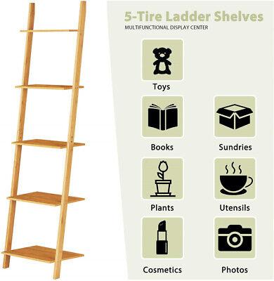 5-Tier Ladder Shelf Bookcase Bookshelf Storage Rack Plant Stand Corner Display 5 Shelf Book Display