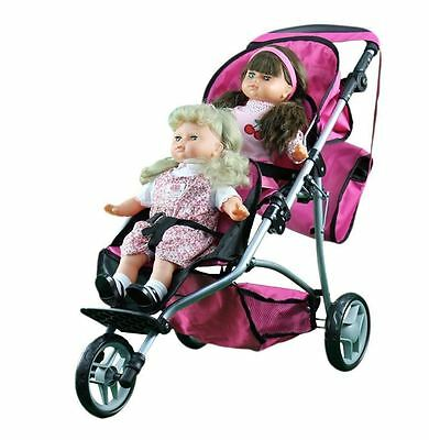 Kids Girl Twin Baby Doll Jogger Jogging Stroller Pretend Mommy Play Carriage Set