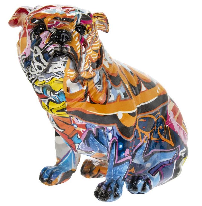 Leonardo Collection Small Graffiti Art Sitting British Bulldog Figure Ornament