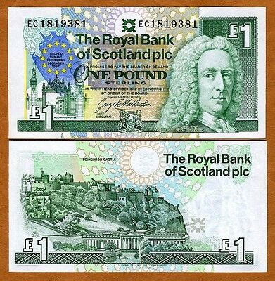 Scotland Royal Bank  1 Pound  1992  P 356  Unc  Commemorative  European Summit