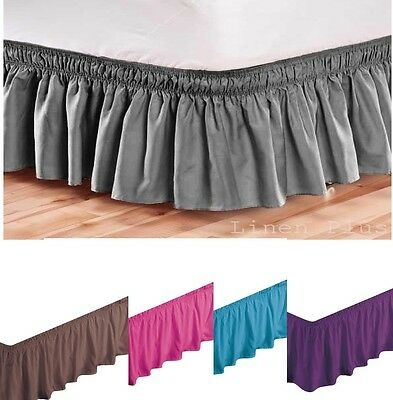 Elastic Bed Skirt Dust Ruffle Easy Fit Black Queen King Full Twin OTHER COLORS +