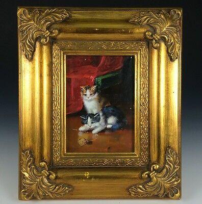 Katzen mit Wollknäuel Ölgemälde in Prunkrahmung 28 x 33 cm Kätzchen
