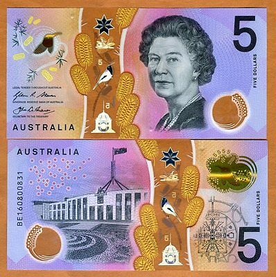 Australia   5  2016  P New  Qeii  Polymer Unc   Redesigned