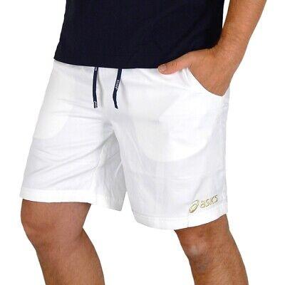 Asics Herren Tennis Bermuda Novak Shorts Sport Hose Laufhose Trainingshose weiss (Asics Herren Weiß)