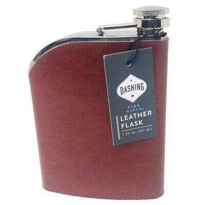 Faux Leather Flask 7 fl oz Gift Fathers Liquor Drink Brown Mens Vegan Brown (Mens Flask)
