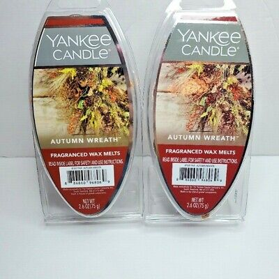 YANKEE CANDLE, FRAGRANCED WAX MELTS, AUTUMN WREATH, LOT OF 2, FREE SHIP