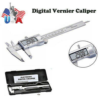 Lcd Electronic Stainless Steel Digital Vernier Caliper Gauge Ruler Micrometer 6