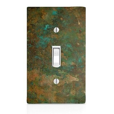 (Light Switch Plate Cover Aged Copper Image Patina Wall Plate Toggle Home Decor)