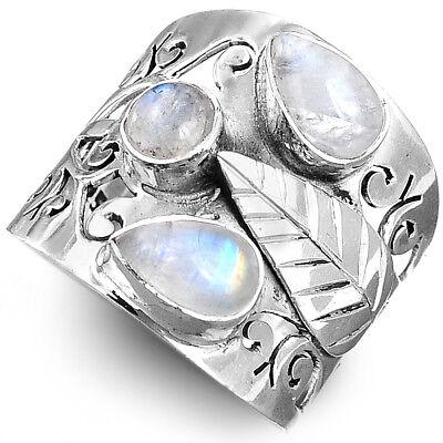Moonstone Leaf Filigree Ring Sterling Silver 925 White Stone Women Size 6 7 8 -