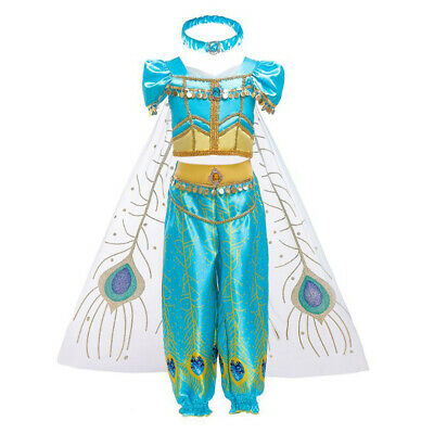 Girls Halloween Fancy Dress (Kids Aladdin Costume Princess Jasmine Cosplay Outfit Girls Halloween Fancy)