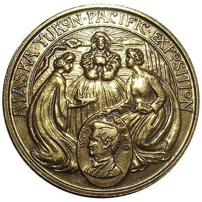 1909 Alaska Yukon Pacific Expo US Govt Bldg Medal, AYPE Token, Brass, HK364, AYP