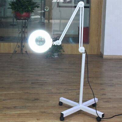 - Pro 5X Diopter Rolling Floor Stand Magnifier Lamp Glass Magnifying Facial Tattoo