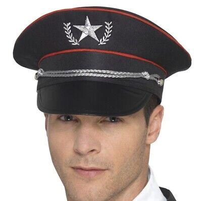 Herren Erwachsene Militär Kostüm Hut Schwarz von - Militär Kostüm Accessoires