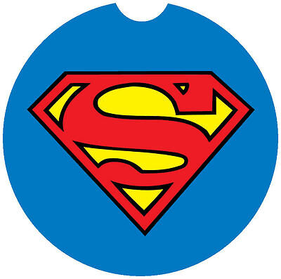 SUPERMAN LOGO CAR ABSORBENT COASTERS - Car Cup Holder Coaster - Cup Holder Coaster