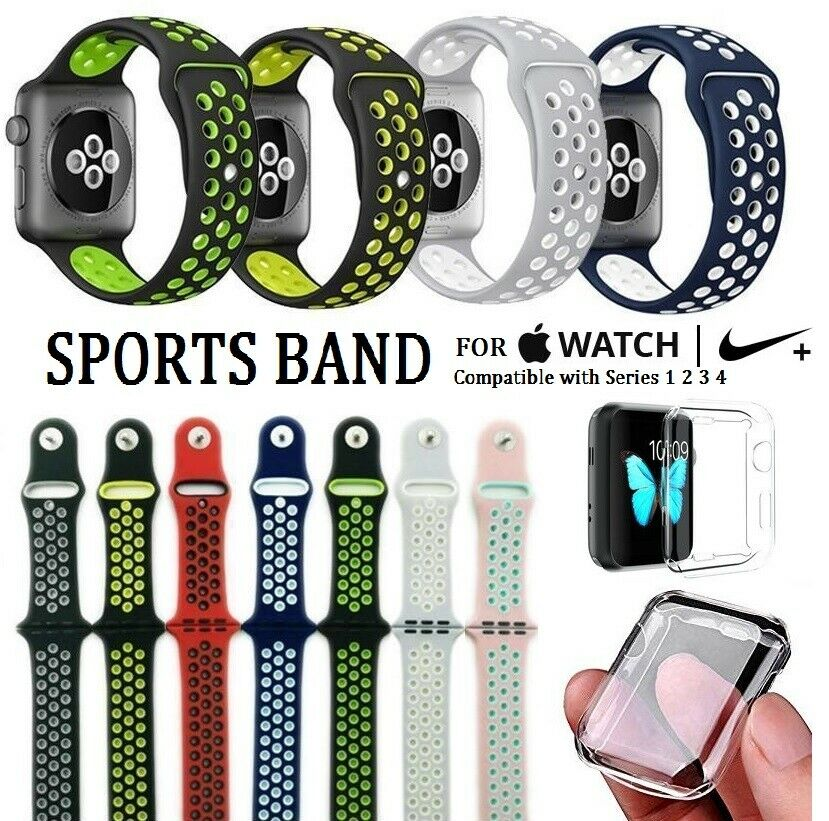 Replacement Sports Band for Apple Watch Nike+ Series 4 40/44mm + Watch Protector Jewelry & Watches