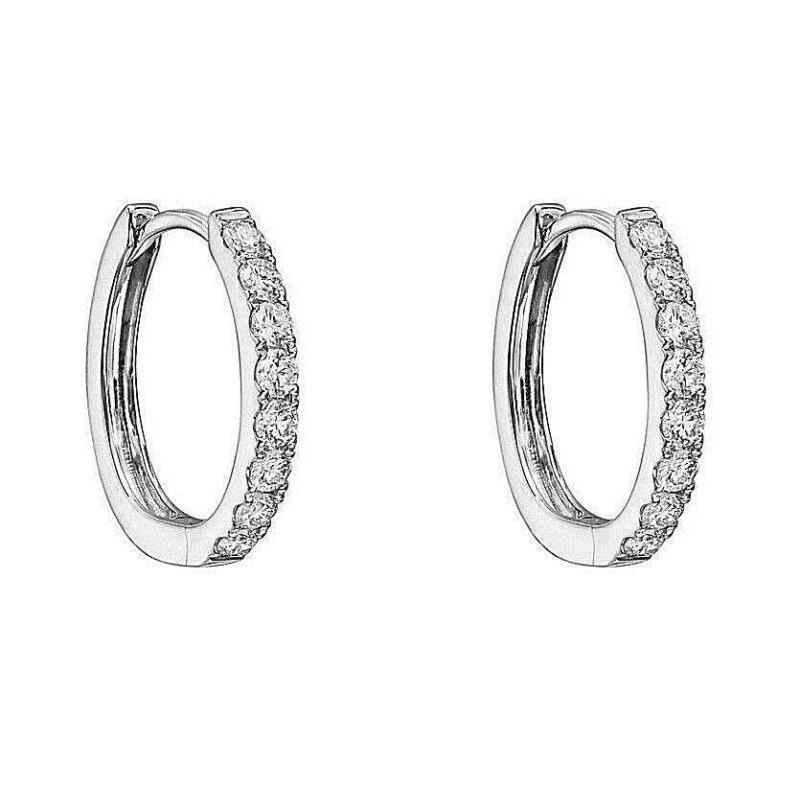 Diamond Huggie Hoop Earrings set in Solid Sterling Silver ~ Gift box