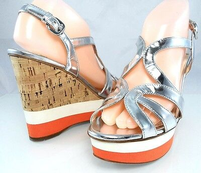 Auth $890 PRADA Metallic Leather 7 1/2  Wedge Cork Sandal Womens Shoes 37.5