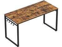 Brand New, VASAGLE Computer / Home Office Desk, with 8 Hooks, Rustic Brown and Black