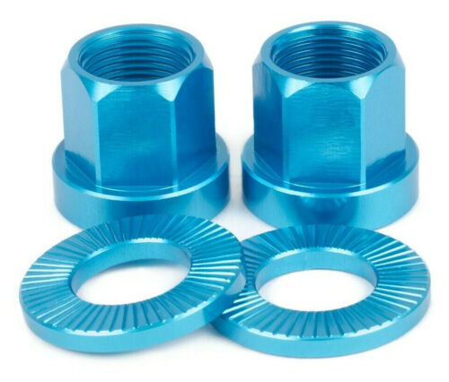 2 x SHADOW CONSPIRACY BMX BICYCLE AXLE NUTS 14mm CULT GT SUBROSA HARO BLUE NEW