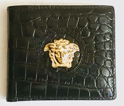 Versace Men Mock Croc Print Calf Leather Wallet