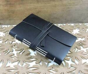 A5 Decorative Black Leather Strapped Journal/Notebook Brightview Somerset Area Preview
