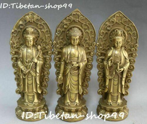 China Pure Bronze Flower Western Shakyamuni Kwan-yin God Buddha Statue Set