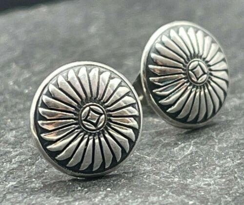Vintage 925 Sterling Silver Post Earrings Circle Shield Design Southwestern