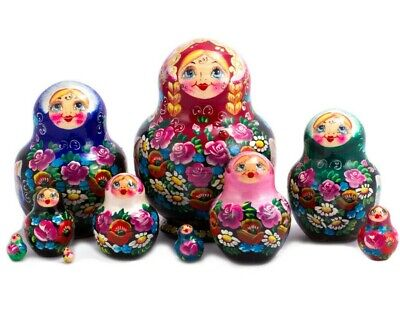 """Nesting Dolls Matryoshka Made in Russia Hand Painted Russian Doll 10 pcs 5"""""""