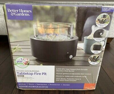 *NEW* Tabletop Fire Pit Better Homes and Garden Round Gas Burning Propane