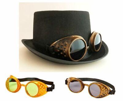 Zylinder mit Brille gold bronze Steampunk Kostüm Kopfbedeckung Hut Set, K