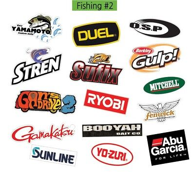 Fishing Gear Logo #2 Decal Vinyl Truck Luggage Graffiti Patches Sticker 15PCS