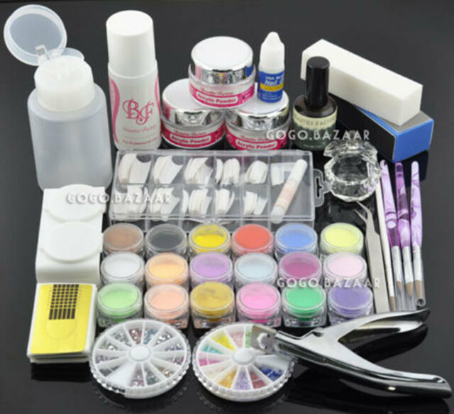 Acrylic Powder Glitter Nail Brush False Finger Pump Nail Art Tools ...