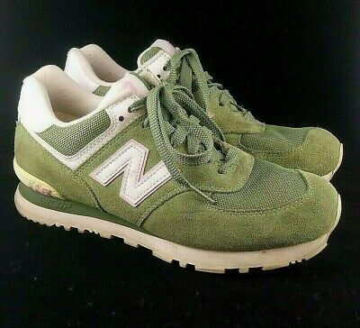 New Balance 574 Womens Sneakers Shoes Green Suede w/ pink WL574SGP size 8 US